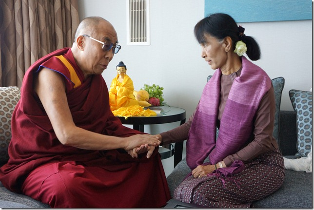His Holiness the Dalai Lama with Aung San Suu Kyi during their private meeting in London on June 19th